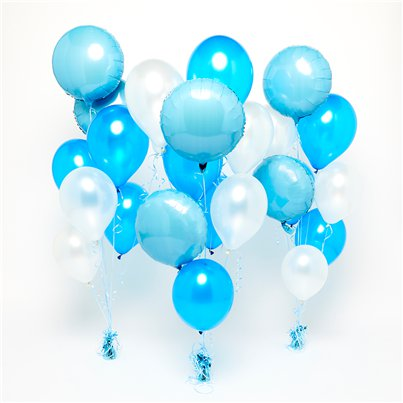 Blue & White Balloon Bouquets - 3 Bunches