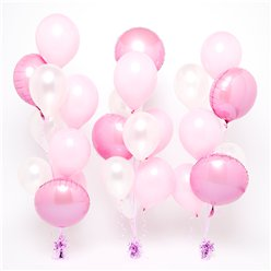 Pink & White Balloon BouquetKit- 3 Bunches