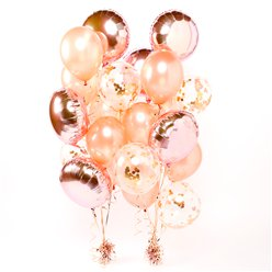Rose Gold Confetti Balloon Bouquets - 2 Bunches