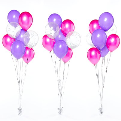 Purple & Pink Confetti Balloon Bouquet - 3 Bunches