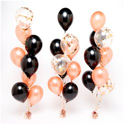Rose Gold & Black Confetti Balloon Bouquets - 3 Bunches