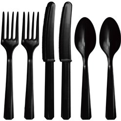 Black Reusable Cutlery - Assorted 24pk