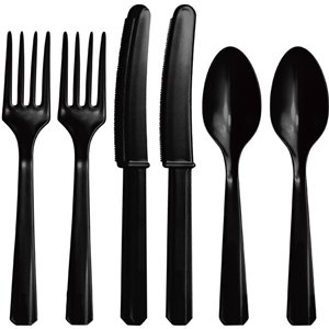 Black Plastic Cutlery - Assorted Party Pack
