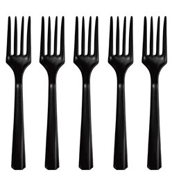 Black Reuseable Plastic Forks