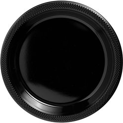 Black Plastic Serving Plates - 26cm