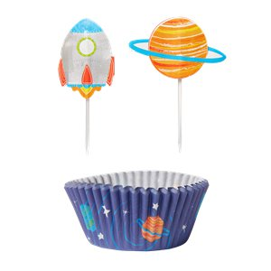 Blast Off Birthday Cupcake Cases & Picks