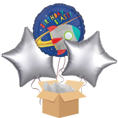 Space Birthday Blast Balloon Bouquet - Delivered Inflated
