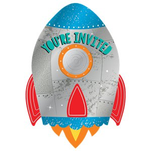Blast Off Birthday Postcard Invitations with Stickers