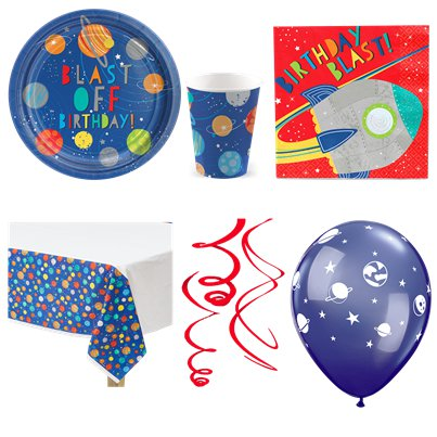 Blast Off Birthday Party Pack - Deluxe Pack for 8