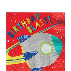 Blast Off Birthday Lunch Napkin - 33cm