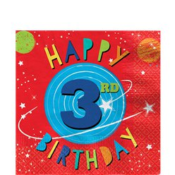 Blast Off 3rd Birthday Lunch Napkins - 33cm
