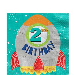 Blast Off 2nd Birthday Lunch Napkins - 33cm