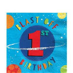 Blast Off Birthday 3rd Birthday Lunch Napkins - 33cm