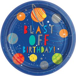 Blast Off Birthday Party Plates - 23cm