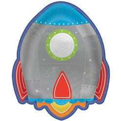 Blast Off Birthday Rocket Shaped Plates - 18cm