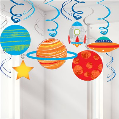Blast Off Birthday Swirl Decorations