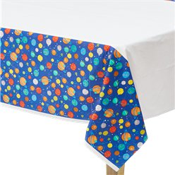 Blast Off Birthday Plastic Tablecover - 1.37m x 2.6m