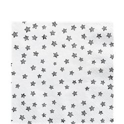 Black & White Star Paper Napkins - 33cm