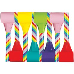 Rainbow Stripe Multi Coloured Party Blowers