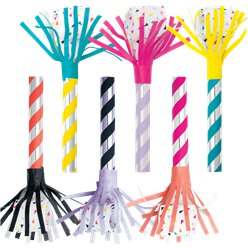 Metallic Stripe Fringed Party Blowers