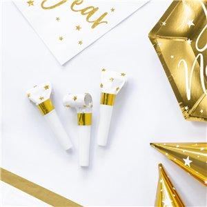 White & Gold Star Party Blowers
