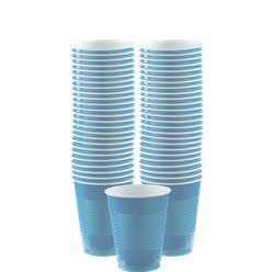 Baby Blue Plastic Cups - 355ml