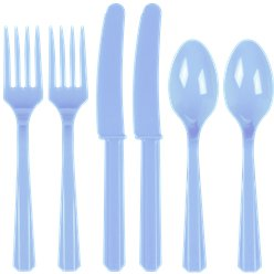 Baby Blue Reusable Plastic Cutlery - Assorted 24pk