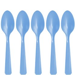 Baby Blue Reuseable Plastic Spoons