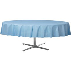 Baby Blue Round Tablecover - Plastic - 2.1m
