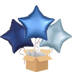 Blue Star Mix Balloon Bouquet - Delivered Inflated