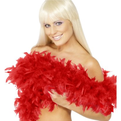 Red Deluxe Feather Boa - Fancy Dress Accessories front