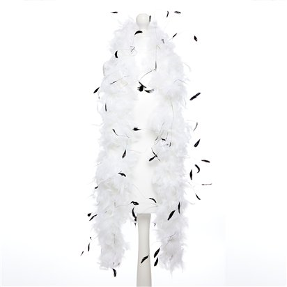 White Black Feather Boa - 198cm - Fancy Dress Accessories back