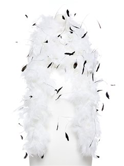 Deluxe White & Black Feather Boa