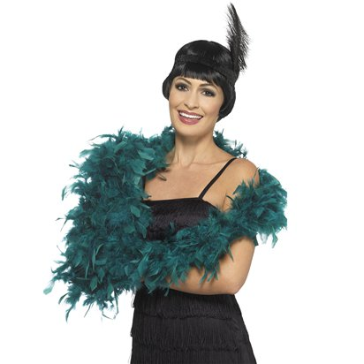 Deluxe Teal Feather Boa front