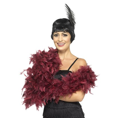 Deluxe Burgundy Feather Boa front