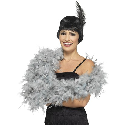 Deluxe Grey Feather Boa front