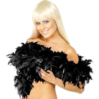 Black Deluxe Feather Boa - Fancy Dress Accessories front