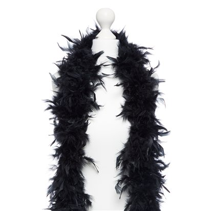 Black Deluxe Feather Boa - Fancy Dress Accessories left