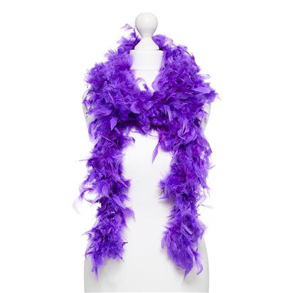 Purple Deluxe Feather Boa 80g - 180cm - Fancy Dress Accessories front