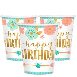 Boho Birthday Girl Paper Cups -266ml