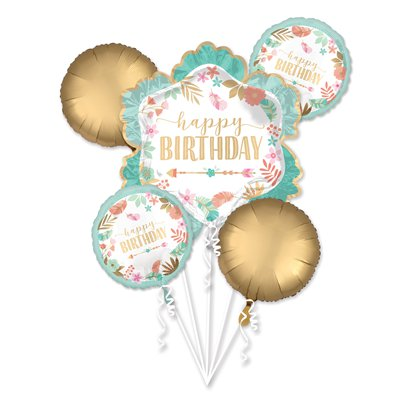 Boho Birthday Balloon Bouquet - Assorted Foil