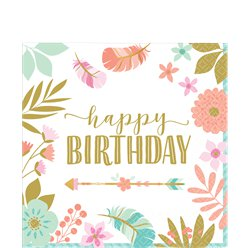 Boho Birthday Girl 'Happy Birthday' Napkin - 33cm