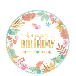 Boho Birthday Girl Plates - 18cm