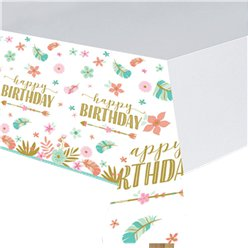 Boho Birthday Girl Paper Tablecover