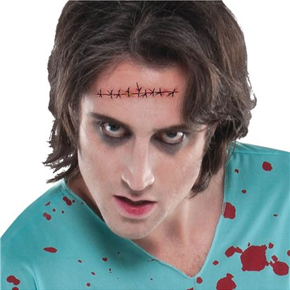 Sinister Surgery Stitched Wound Tattoos - Halloween Special Effects Makeup front