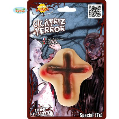 Cross Fake Scar Makeup -   Halloween Special  Effects Makeup front