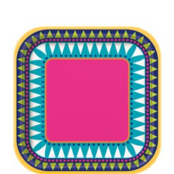 Boho Fiesta Square Plates - 18cm Paper Party Plates