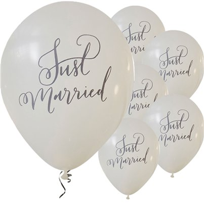 "Boho Wedding Just Married Balloons - 12"" Latex"