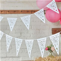 Boho Wedding Die Cut Floral Card Bunting - 3m