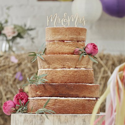 Boho 'Mr & Mrs' Wedding Cake Topper